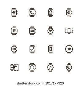Smart Watch icons. Flat Simple Icon - Gray Illustration on White Background.