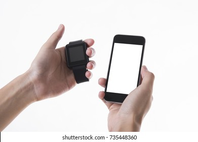 smart watch and smart phone technology gadget communication isolated on white background..