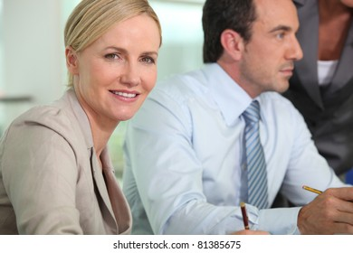 Smart woman in a meeting