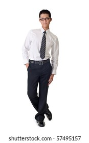 Smart young business man, full length portrait of Asian isolated on white background.
