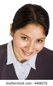 Smart young business woman looking and smiling