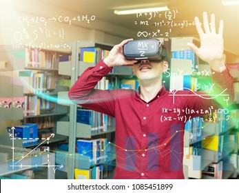Smart young man in a library travels in a virtual futuristic world with augmented reality. Concept: educational, future, library, and immersive technology.