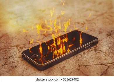 Smartfone burning on parched desert ground. Burning smartphone with bad battery exploded or overloaded processor - 3D illustration.