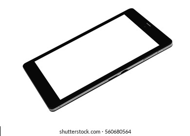 Smarthphone phone black on white background cutout isolated without screen side