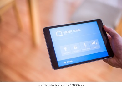 A smarthphone with smart home screen.