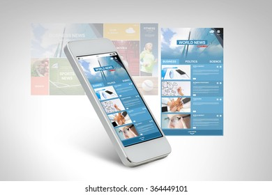 smarthphone with world news web page on screen