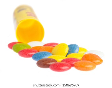 smarties and packaging on a white background