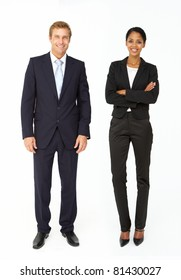 Smartly dressed businessman and woman