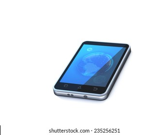 Smartphone 3d with wallpaper isolated on white background