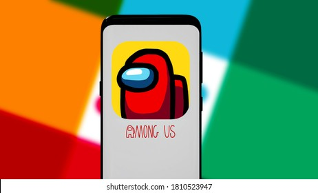 Smartphone with the Among Us logo, this game is becoming one of the hot games. United States California, September 7, 2020