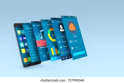 smartphone with app screens that come out of the screen (3d render)