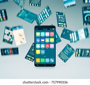 smartphone with app screens that falling background (3d render)