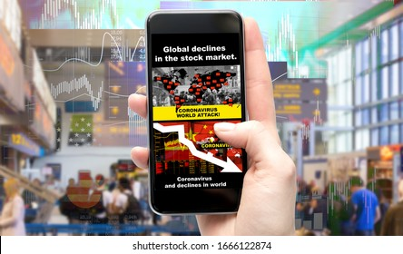 Smartphone application displays information about the global economic crisis caused by the coronavirus epidemic. Stock Market Losses.