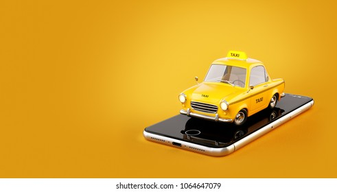 Smartphone application of taxi service for online searching calling and booking a cab. Unusual 3D illustration of taxi cab on smart phone. Taxi concept