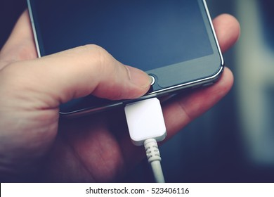 smartphone battery charging - low battery or fast charge concept
