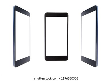 Smartphone black color close-up at different angles of inclination, isolated on white background with isolated screen.