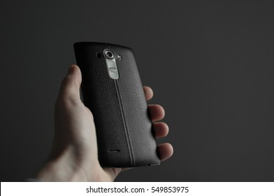 Smartphone with black leather back cover