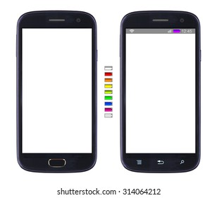 Smartphone with blank screen  isolated on white background, with set of battery icons