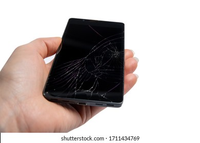 smartphone with broken screen, isolate on white