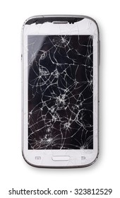 Smartphone with broken screen isolated on white