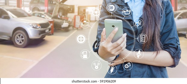 Smartphone and car service icon concept, Woman hand using smartphone.