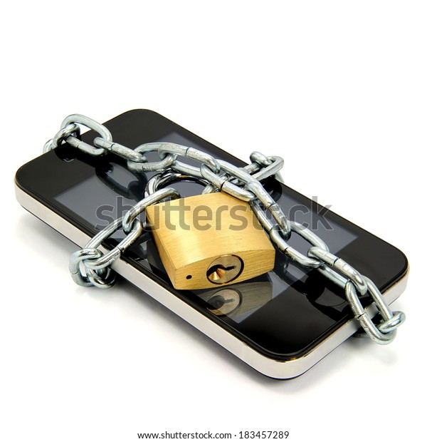 Smartphone With Chain And Padlock