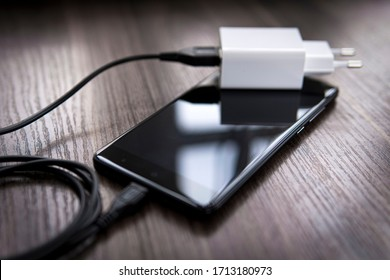 smartphone and charger with wire