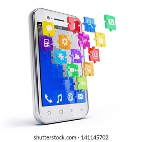Smartphone with cloud of puzzle application icons