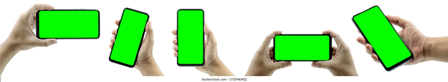 Smartphone Concept. Mobile phone frameless mockup. Studio shot of Smartphone with green screen for Infographic Global Business web site design app, Content for technology - include clipping pat.