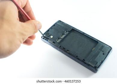 Smartphone drop to the floor and screen damage broken, broken smartphone on white background.