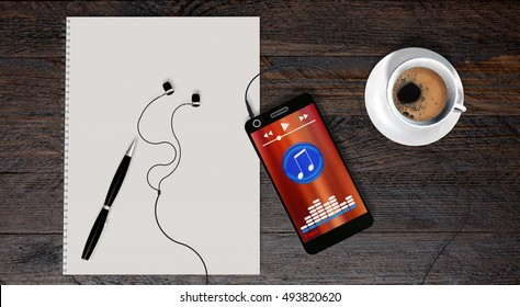 smartphone and earphones on wooden table with coffee and white spiral bound paper drawing pad - 3d rendering