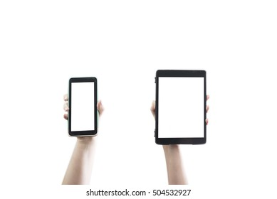 smartphone and electronic tablet being held up by two hands. Has copy space and clipping path.