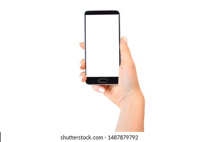 Smartphone with empty white screen in female hand isolated on white.