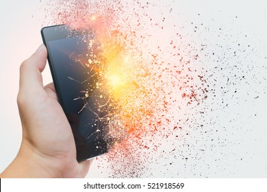 smartphone explosion, blow up cellphone battery or explosive mobile phone or explode burst fire burn out smart device with dispersion effect.
