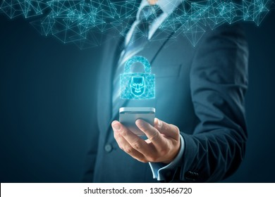 Smartphone face detection and identification (ID) concept. Polygons padlock with face is metaphor of unlocking smart phone via face identification.