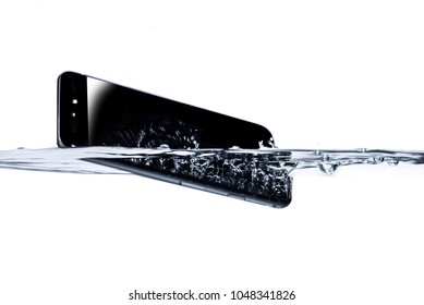 Smartphone fall in water close up white background concept and idea