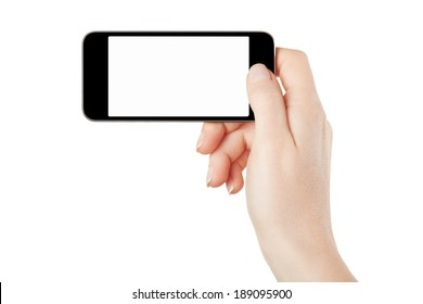 Smartphone in female hand horizontal isolated on white, clipping path included
