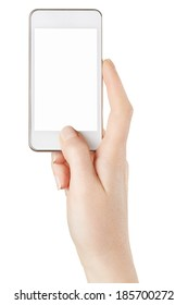 Smartphone in female hand taking photo or video isolated on white, clipping path included