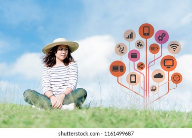 smartphone in female hands.In foreground are communication network service on mobile apps and smartphone