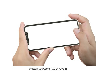 Smartphone in female hands taking photo isolated on white blackground