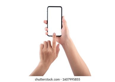 Smartphone in female hands taking photo isolated on white background