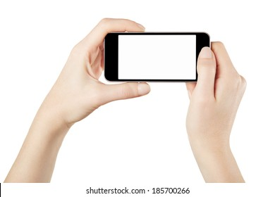 Smartphone in female hands taking photo isolated on white, clipping path included