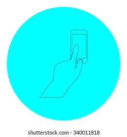 Smartphone, finger clicking. Black outline flat symbol on blue circle. Simple illustration pictograh on white background