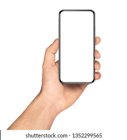 Smartphone frameless in hand blank screen isolated on white background