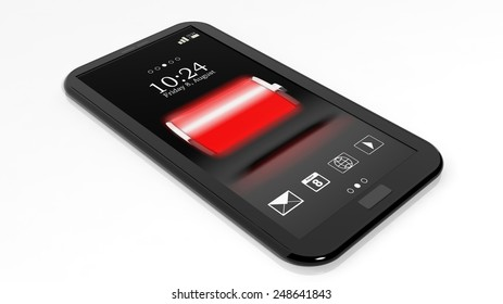 Smartphone with full battery indicator on screen isolated on white