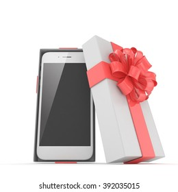 Smartphone in gift box. Isolated on white background