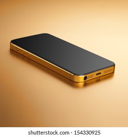 Smartphone gold on a gold background