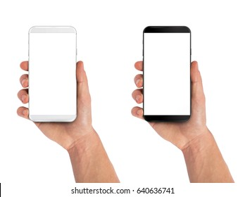 Smartphone in hand, bezel less modern design. Black and white version