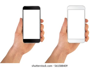 Smartphone in hand black and white color - blank screen isolated on white background mockup