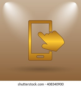 Smartphone with hand icon. Internet button on brown background.